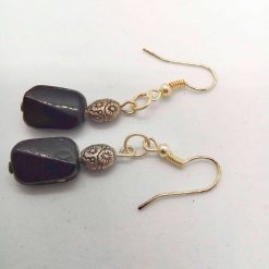 Black Ceramic Faceted Rectangle Bead Earrings With Silver Spacer Bead, Black and Silver Earrings, Gift for Her 9