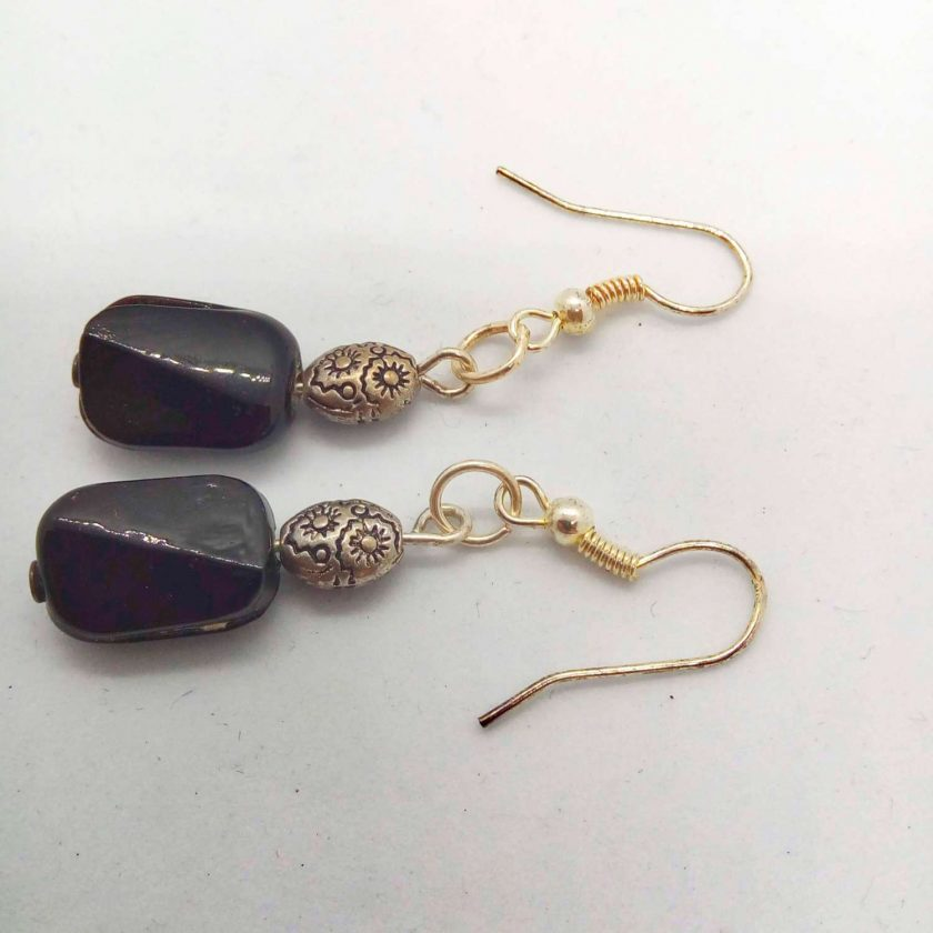 Black Ceramic Faceted Rectangle Bead Earrings With Silver Spacer Bead, Black and Silver Earrings, Gift for Her 5