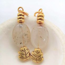 White Opaque Opaline Oval beads with Gold Plated Spacer Beads Earrings, Gift for Her 8