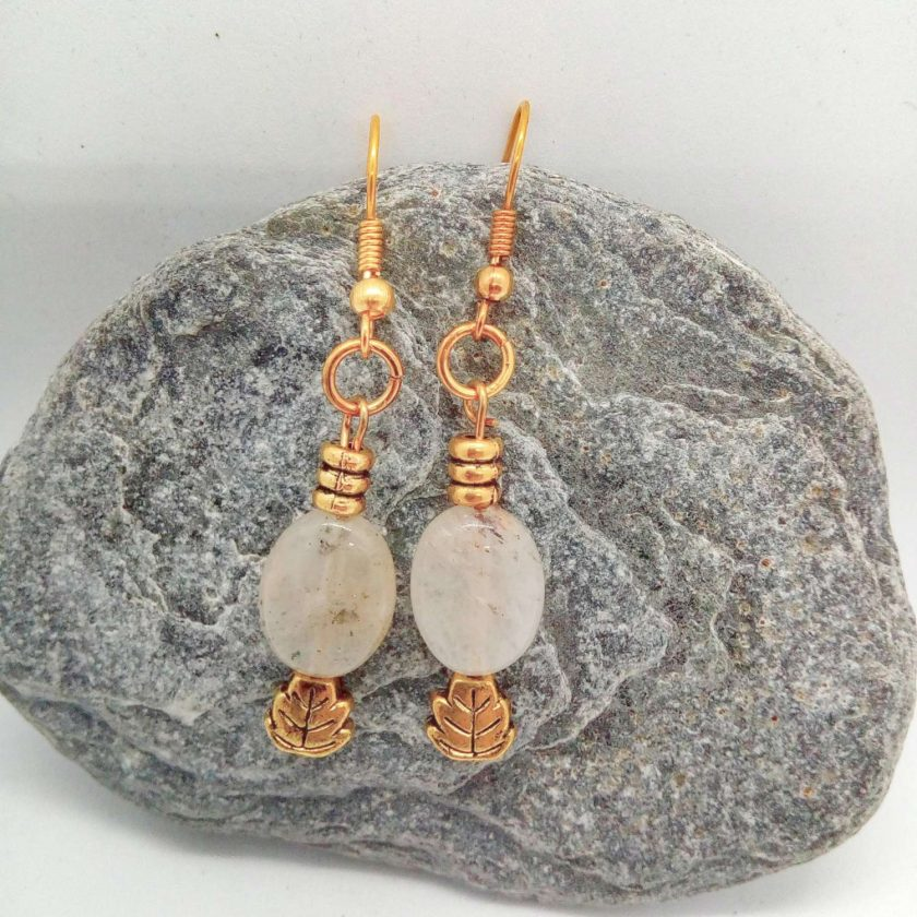 White Opaque Opaline Oval beads with Gold Plated Spacer Beads Earrings, Gift for Her 4