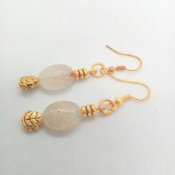 White Opaque Opaline Oval beads with Gold Plated Spacer Beads Earrings, Gift for Her 10