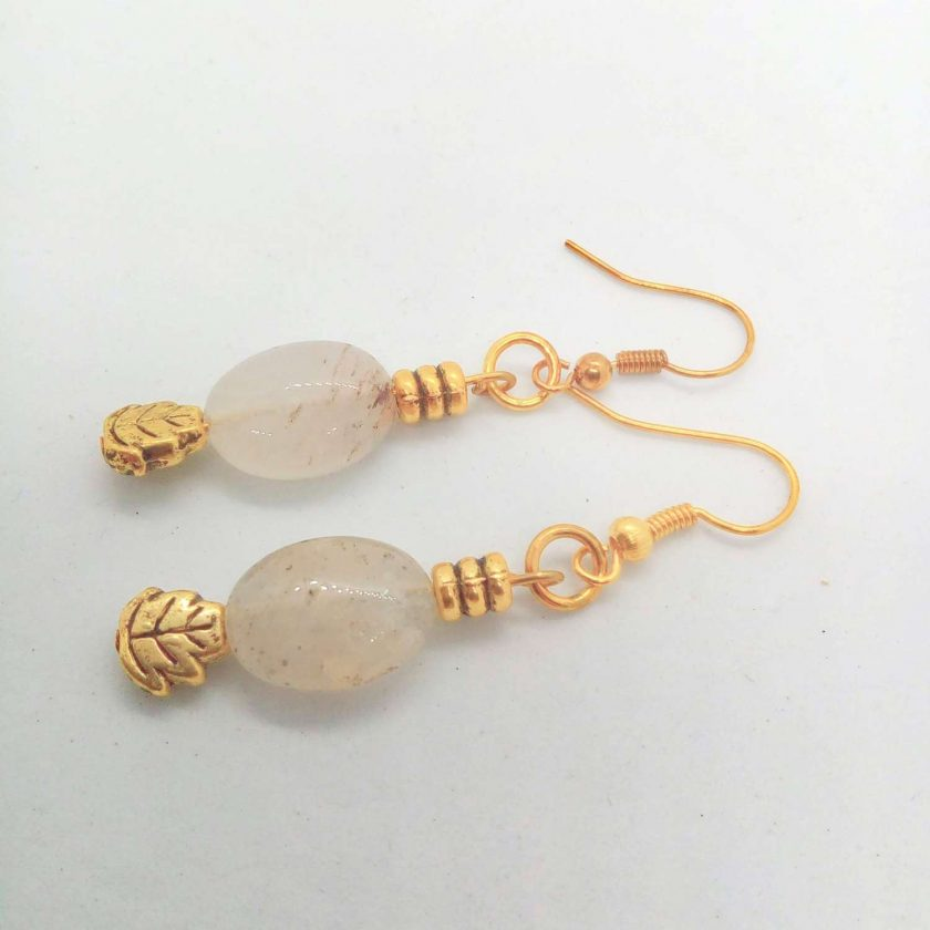 White Opaque Opaline Oval beads with Gold Plated Spacer Beads Earrings, Gift for Her 5