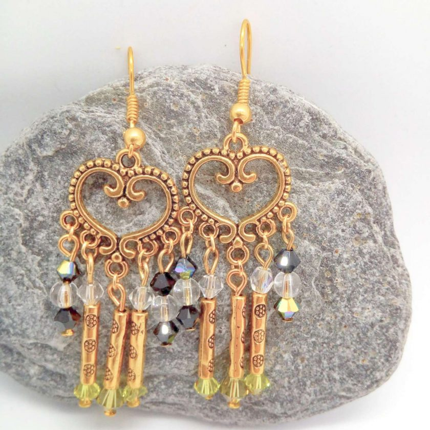 Gold Plated Chandelier Earrings made with Black Clear and Green Crystals and Gold Plated Tube Beads, Gift for Her 4