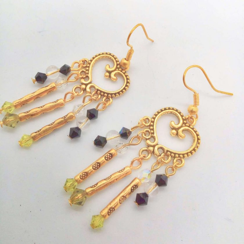 Gold Plated Chandelier Earrings made with Black Clear and Green Crystals and Gold Plated Tube Beads, Gift for Her 1