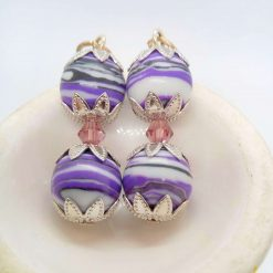 Purple Agate Bead and a Single Lilac Crystal Bead Earrings for Pierced Ears, Gift for Her 7
