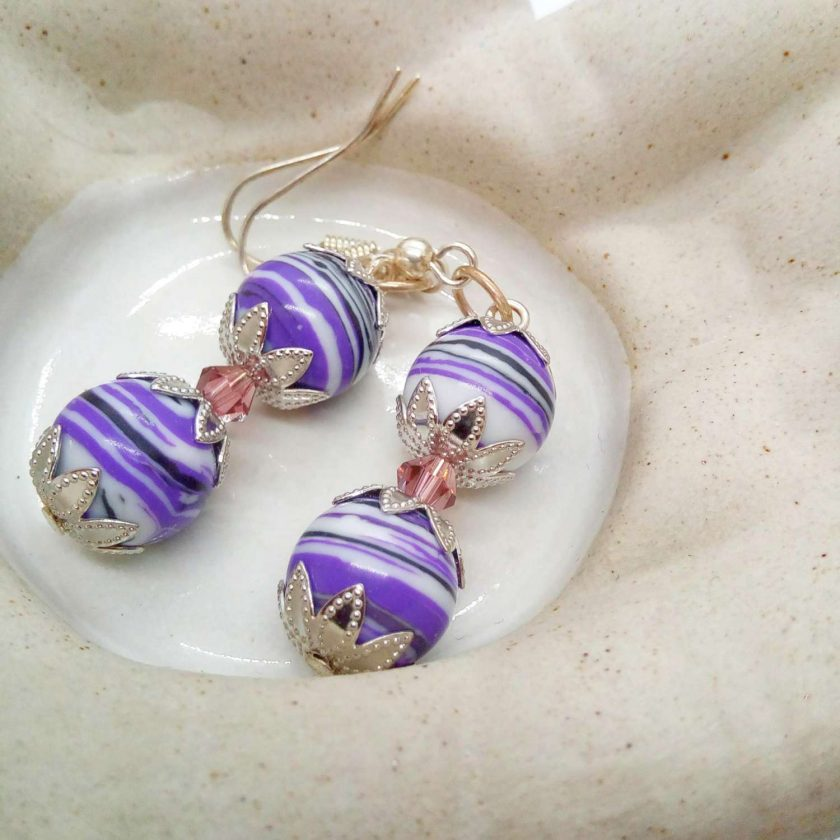 Purple Agate Bead and a Single Lilac Crystal Bead Earrings for Pierced Ears, Gift for Her 3