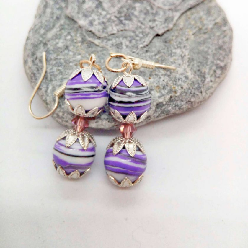 Purple Agate Bead and a Single Lilac Crystal Bead Earrings for Pierced Ears, Gift for Her 4