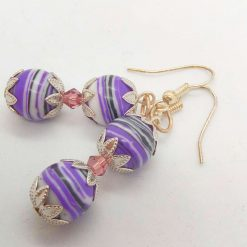 Purple Agate Bead and a Single Lilac Crystal Bead Earrings for Pierced Ears, Gift for Her 10