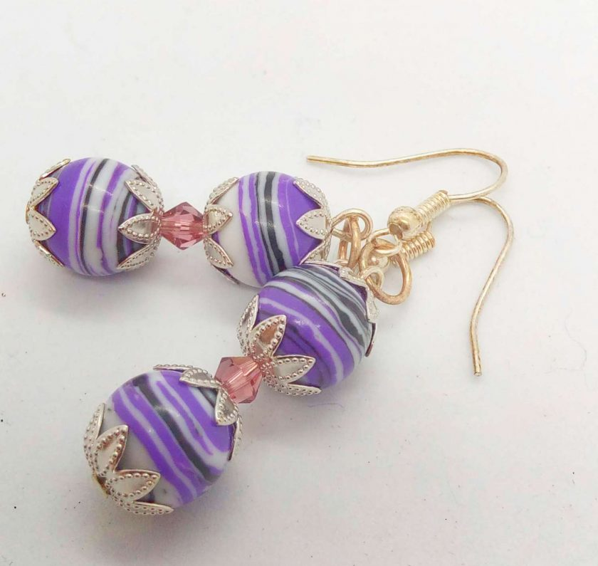 Purple Agate Bead and a Single Lilac Crystal Bead Earrings for Pierced Ears, Gift for Her 1