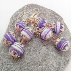 Purple Agate Bead and a Single Lilac Crystal Bead Earrings for Pierced Ears, Gift for Her 11