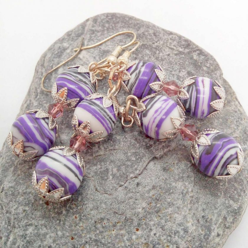 Purple Agate Bead and a Single Lilac Crystal Bead Earrings for Pierced Ears, Gift for Her 6
