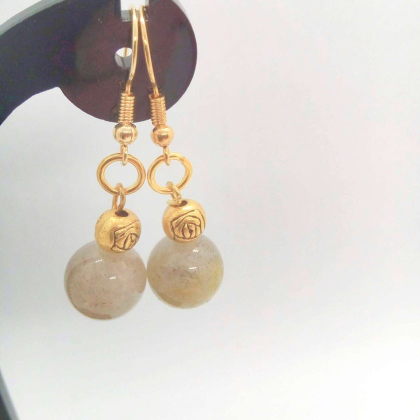 Grey Agate Bead and Gold Plated Rose Earrings for Pierced Ears, Semi Precious Earrings, Gift for Her 2