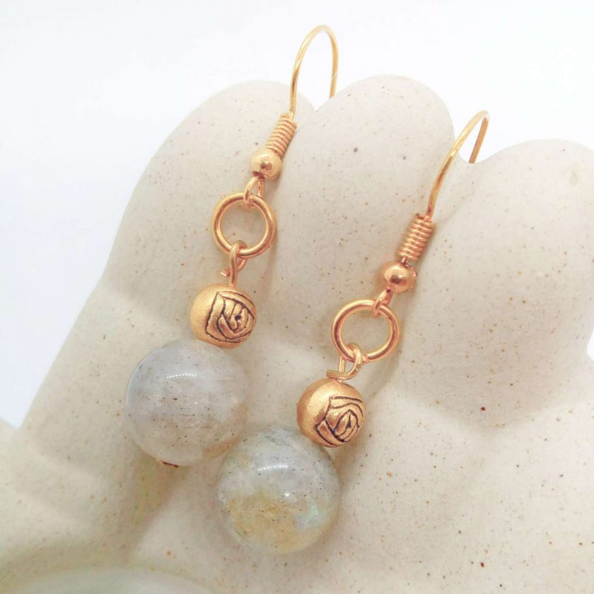 Grey Agate Bead and Gold Plated Rose Earrings for Pierced Ears, Semi Precious Earrings, Gift for Her 3