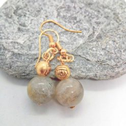 Grey Agate Bead and Gold Plated Rose Earrings for Pierced Ears, Semi Precious Earrings, Gift for Her 9