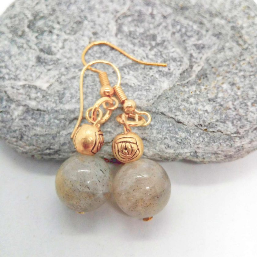 Grey Agate Bead and Gold Plated Rose Earrings for Pierced Ears, Semi Precious Earrings, Gift for Her 4