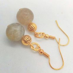 Grey Agate Bead and Gold Plated Rose Earrings for Pierced Ears, Semi Precious Earrings, Gift for Her 10