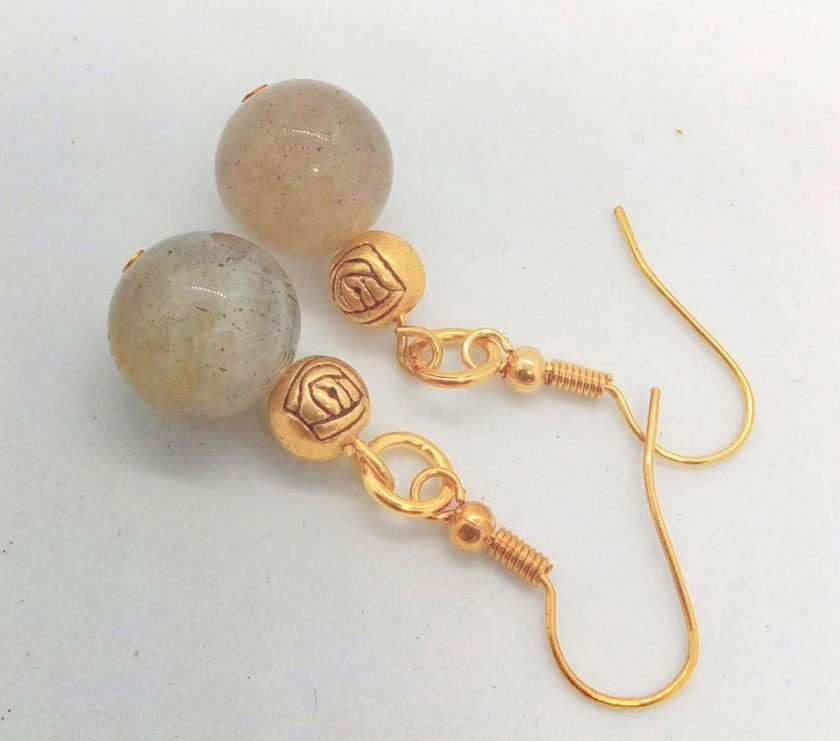 Grey Agate Bead and Gold Plated Rose Earrings for Pierced Ears, Semi Precious Earrings, Gift for Her 1