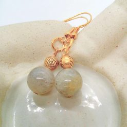 Grey Agate Bead and Gold Plated Rose Earrings for Pierced Ears, Semi Precious Earrings, Gift for Her 11