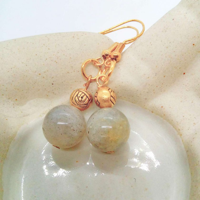 Grey Agate Bead and Gold Plated Rose Earrings for Pierced Ears, Semi Precious Earrings, Gift for Her 6