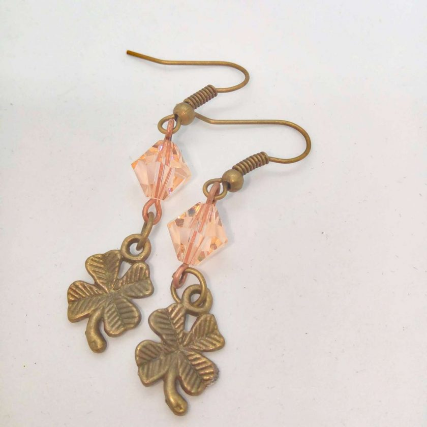 Earrings For Pierced Ears Made With Bronze 4 Leaf Clover Charm and Pink Crystal, Gift for Her 1