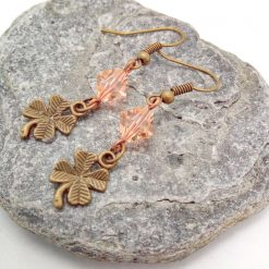 Earrings For Pierced Ears Made With Bronze 4 Leaf Clover Charm and Pink Crystal, Gift for Her 9