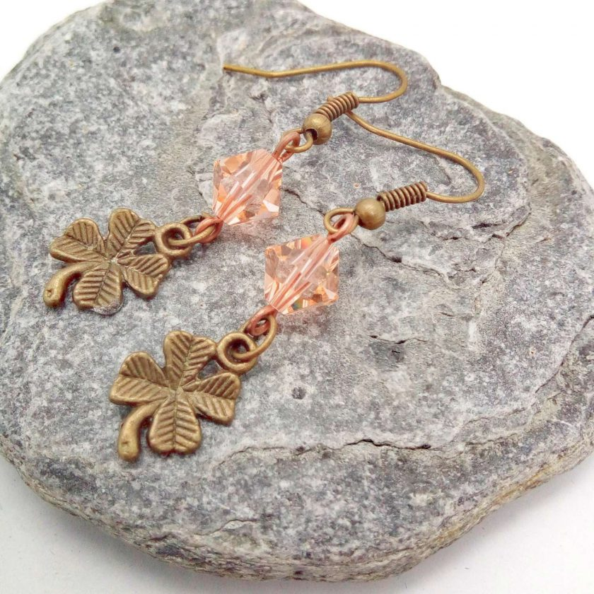 Earrings For Pierced Ears Made With Bronze 4 Leaf Clover Charm and Pink Crystal, Gift for Her 4
