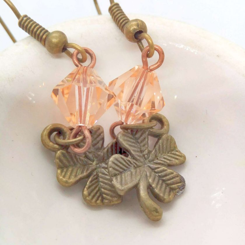 Earrings For Pierced Ears Made With Bronze 4 Leaf Clover Charm and Pink Crystal, Gift for Her 5