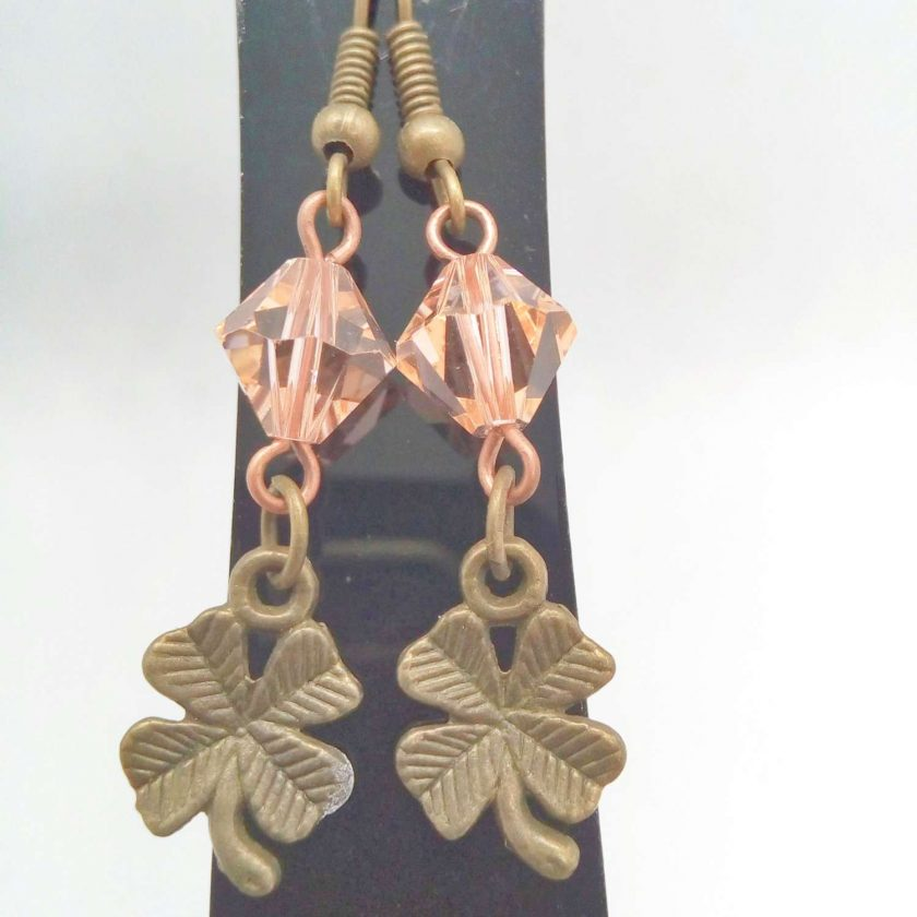 Earrings For Pierced Ears Made With Bronze 4 Leaf Clover Charm and Pink Crystal, Gift for Her 6