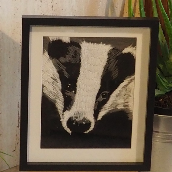 badger thread painting. Artwork. Home decore. 1