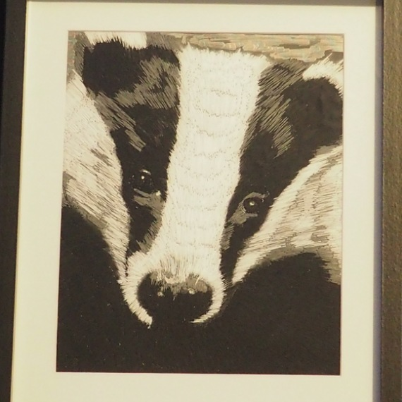badger thread painting. Artwork. Home decore. 2