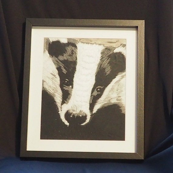 badger thread painting. Artwork. Home decore. 4