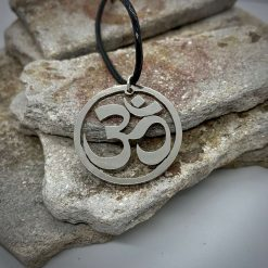 Hand Made Om Pendant, Spiritual Symbol, Sound of the Universe, Silver or Bronze Coin Necklace. Yoga necklace.