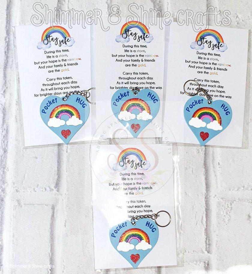 Pocket hug rainbow keyrings 2