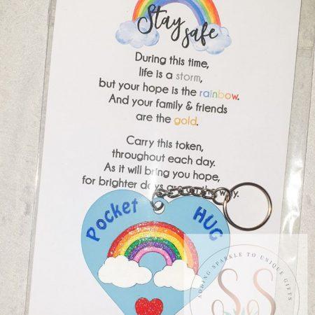 Pocket hug rainbow keyrings