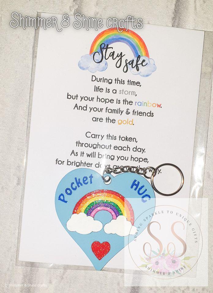 Pocket hug rainbow keyrings 1