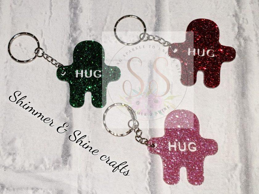 Glitter pocket hug keyrings or magnets 2