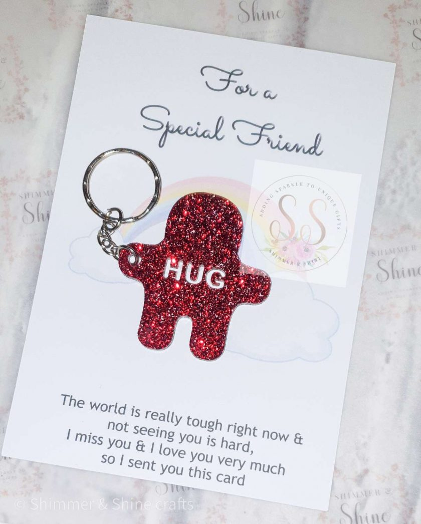 Glitter pocket hug keyrings or magnets 1