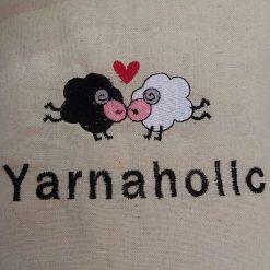 Yarnaholic Sheep - embroidered tote bag 13