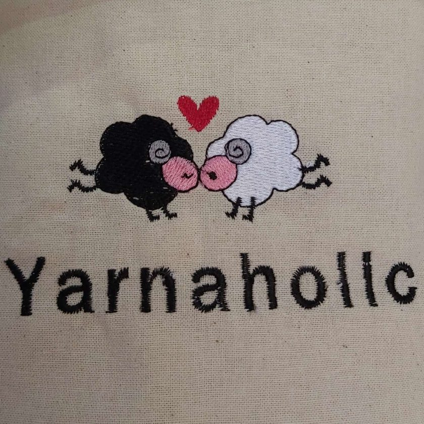 Yarnaholic Sheep - embroidered tote bag 7
