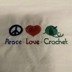 Peace*Love*Crochet -  embroidered tote bag 11