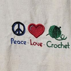 Peace*Love*Crochet -  embroidered tote bag 10