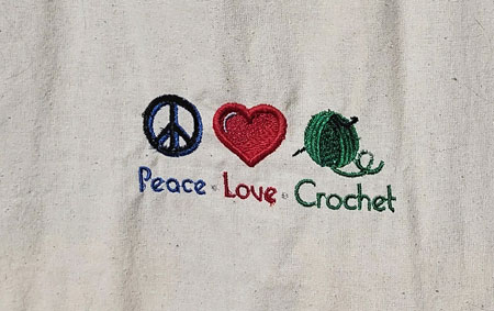 Peace*Love*Crochet -  embroidered tote bag 5