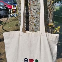 Peace*Love*Crochet -  embroidered tote bag 9
