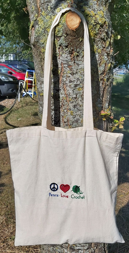 Peace*Love*Crochet -  embroidered tote bag 4
