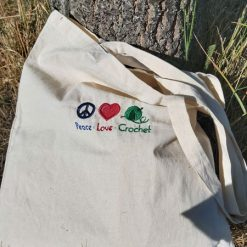 Peace*Love*Crochet -  embroidered tote bag 8