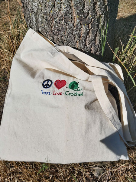 Peace*Love*Crochet -  embroidered tote bag 1