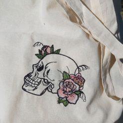Floral Skull - embroidered tote bag