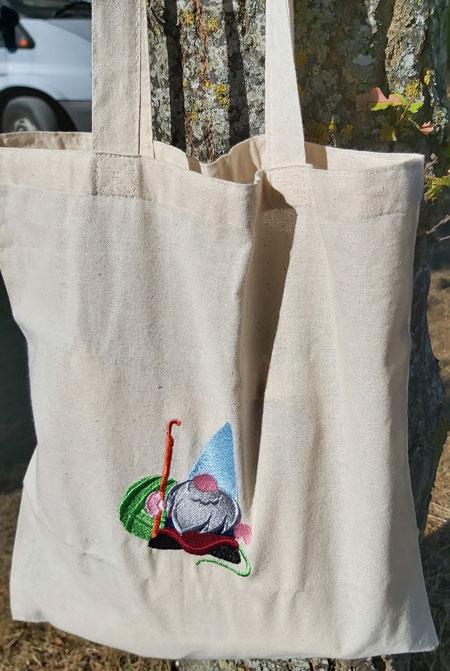 Gordon The Crochet Gnome - embroidered tote bag 2