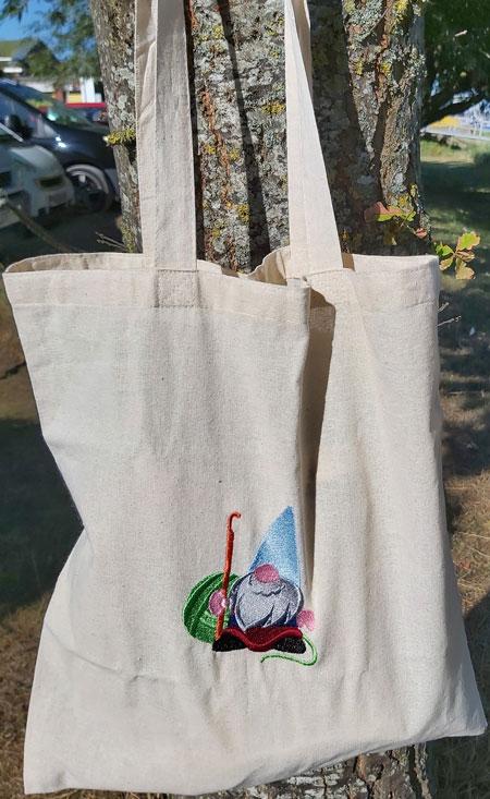Gordon The Crochet Gnome - embroidered tote bag 1