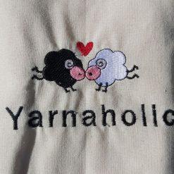 Yarnaholic Sheep - embroidered tote bag 8